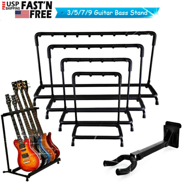 Guitar Stand 3 5 7 9 Holder Guitar Folding Rack Stand Stage Bass Acoustic Guitar $36.99