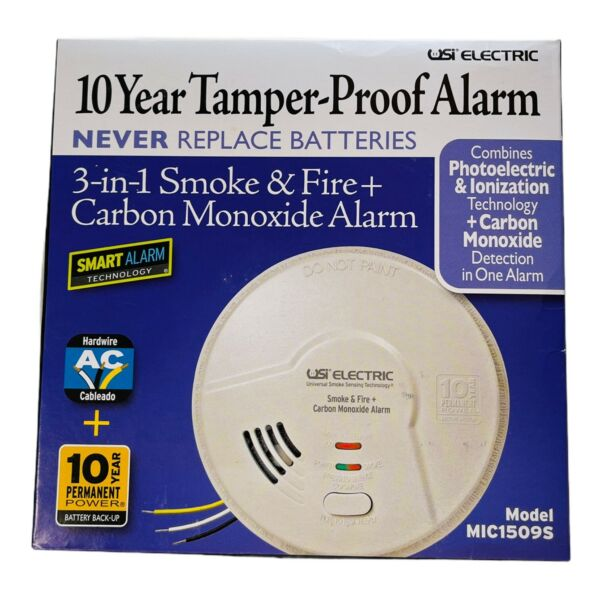 New USI electric MIC1509S 3 in 1 Smoke amp; Fire Carbon Monoxide Detector $27.99