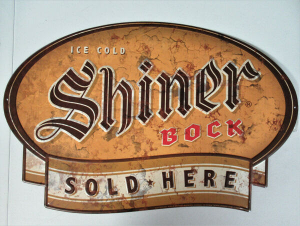 SHINER BOCK BEER TIN SIGN ICE COLD SOLD HERE BAR MAN CAVE 30quot;X19quot;