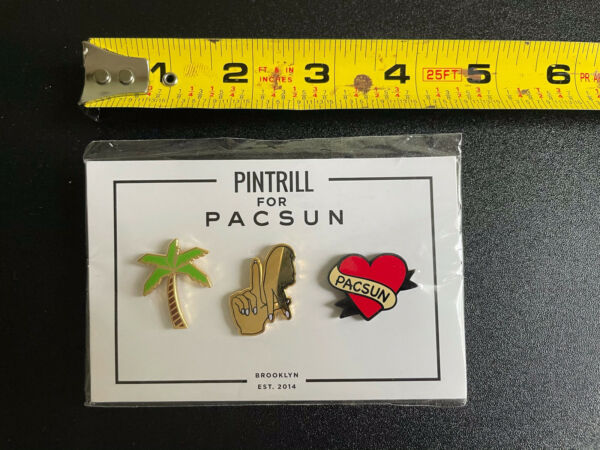 Pintrill for PACSUN Set of 3 Pins Palm Tree LA Hands Heart NEW EST. 2014