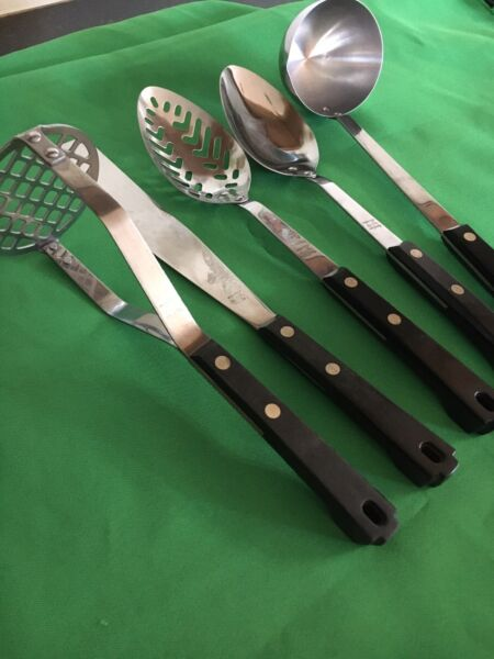5 Piece VTG Maid Of Honor Stainless Cooking Utensils Ladle Spatula Spoon Masher