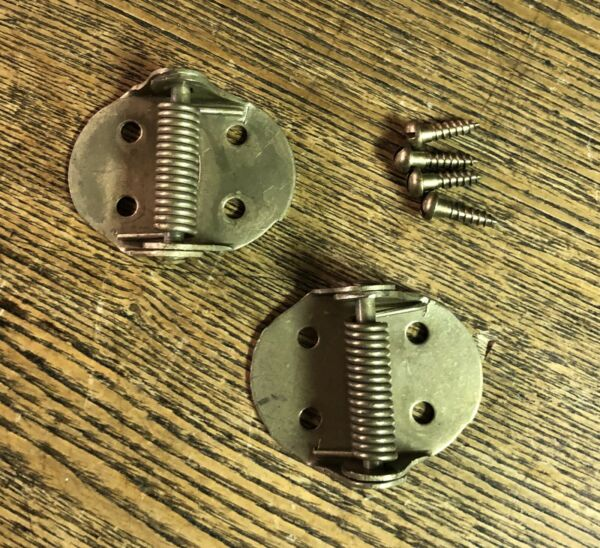 Pair Vintage Small Brass Plated Steel Show Case Spring Hinges