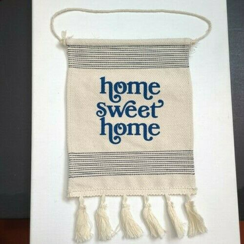 New hanging Signs Burlap Home Sweet Home w Tassels  9quot; X 7quot;.