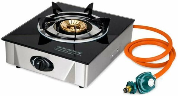Single Propane Gas Burner Stove with Auto Ignition Tempered Glass Top Hose amp;...