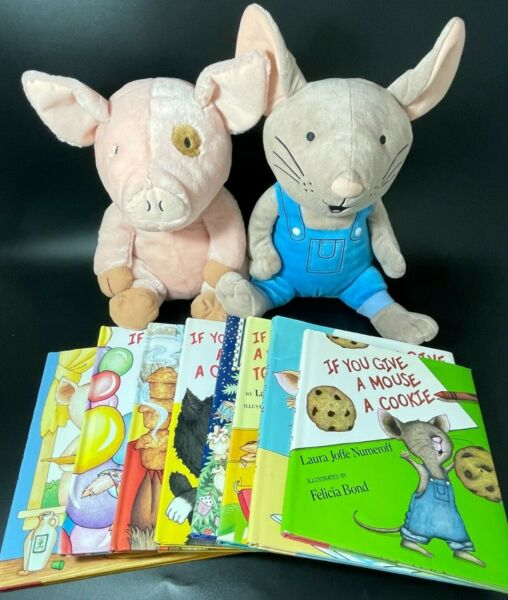 Lot 6 Laura Numeroff Hardcover Books If You Give a ... MOUSE PIG CAT DOG MOOSE $24.95