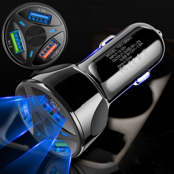 3 Port USB Auto Charger Adapter LED Display QC 3.0 Fast Charging Car Accessories $8.00