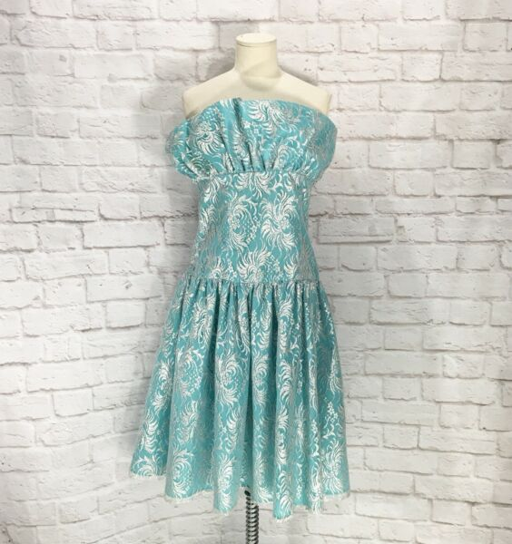 Halston III Aqua Blue Silver Formal Prom Cocktail Dress Strapless 1980's Size 8