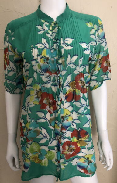 ETRO Womens Floral Print Button Up Short Sleeve Silk Blend Shirt Blouse Large 46 $49.99