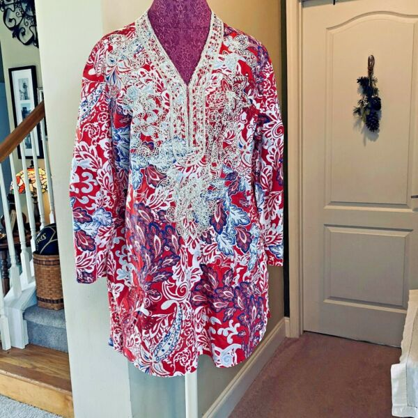 Charter Club Weekend Women#x27;s Boho Red White Blue Embroidered Trim Tunic Size XL $15.00
