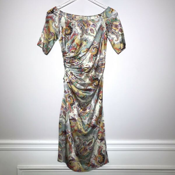 ETRO Size EU 40 Silk Satin Paisley Print Ruched Short Sleeve Boat Neck Dress $85.00