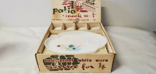 Vintage Federal Glass Patio Snack Set Milk Glass Atomic Flowers NOS In Box