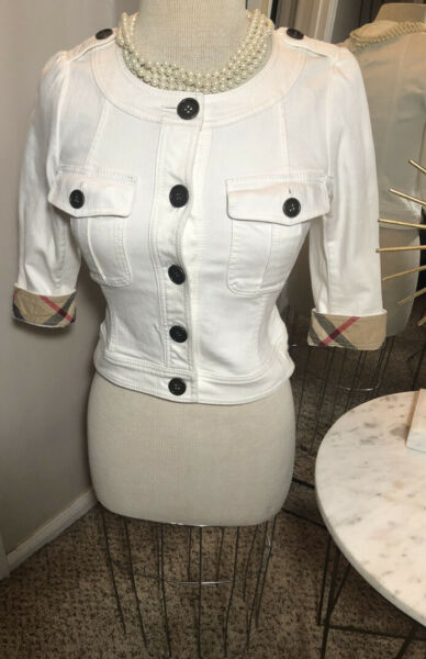 100% Authentic Burberry white jeans jacket RARE Size Small $159.99