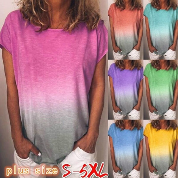 Womens Gradient Short Sleeve T Shirt Ladies Summer Casual Loose Tunic Top Blouse