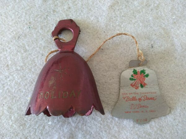 VINTAGE ANTIQUE BELLS OF SARNA BELL INDIA ETCHED Xmas Holiday Ornament Red