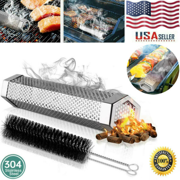 12quot; Stainless Steel Outdoor Wood Pellet Grill Smoker Filter Tube Pipe Smoke BBQ
