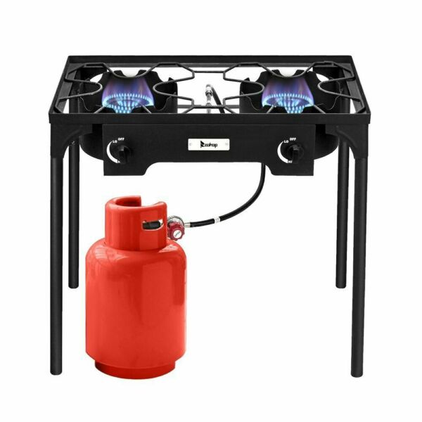 Outdoor Stove Portable Propane Gas Cooker Iron Cast Patio Double Burner for Camp $113.10