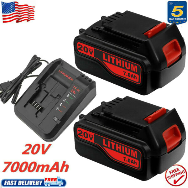 For Black and Decker 20Volt MAX 7.0Ah Lithium Battery LBXR20 LB20 Fast Charger