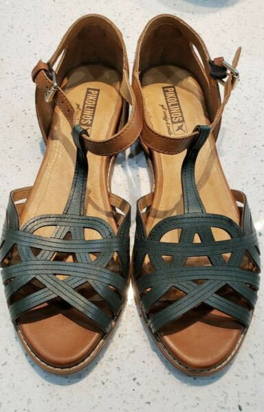 Womens Pikolinos Talavera Green And Brown Leather Sandals Sz 39 Or 8.5