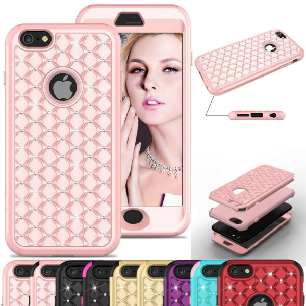 Glitter Bling Case Hybrid Armor Hard PC Rubber Cover Cute For iPhone 6 6s Plus $9.98