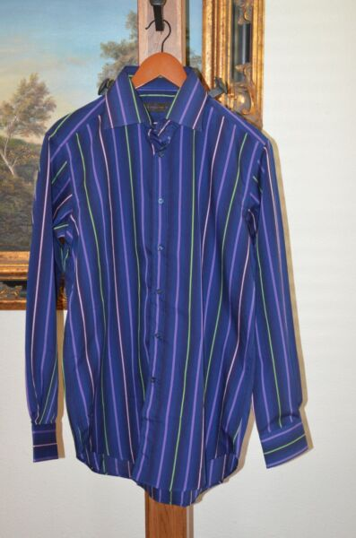 ETRO Mens Long Sleeve Shirt Size 41 Large Button Down Multi Stripe Color NWOT $49.99