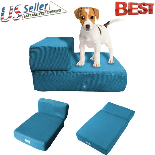 Portable Foldable Mesh Dog Steps 2 Steps Pet Bed Stairs Dogs Cats Ramp Ladder US
