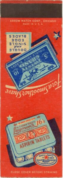 Aspirin Tablets amp; Twenty Grand Double Edged Razor Blades Vintage Matchbook Cover $9.99