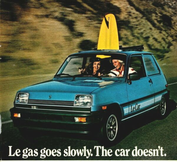 Le Gas Goes Slowly Renault Le Car Doesn#x27;t Surfboard 1981 Vintage Print Ad $13.95