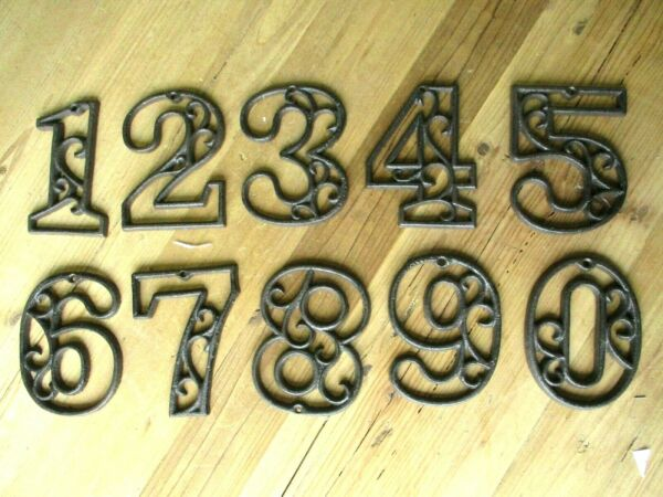 Metal House Numbers Street Address LARGE Rustic Cast Iron Pick ##x27;s from 0 9 #