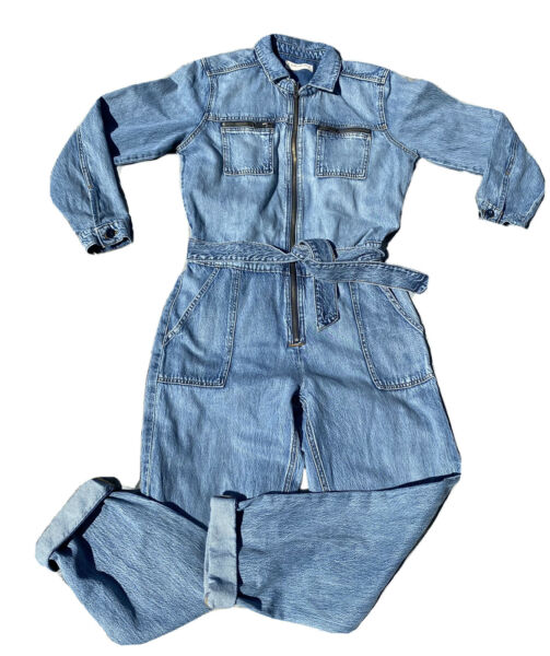 LUCKY BRAND TIE FRONT BOILER SUIT JUMPSUIT ROMPER WOMENS MEDIUM ACID BLUE $78.00