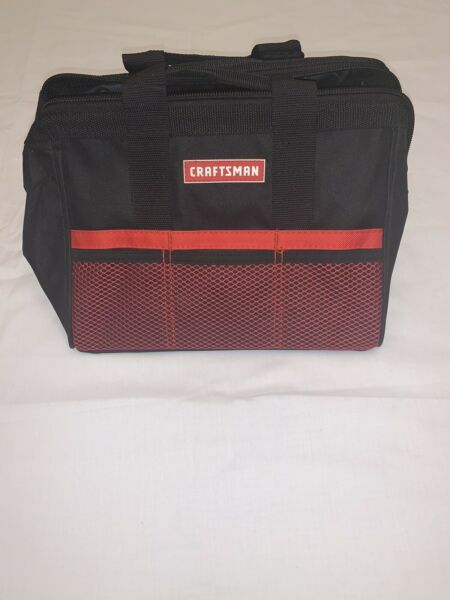 """Craftsman 13""""Tool Bag 37537Large Mouth Storage Bag Small Tools Black Red Used"""