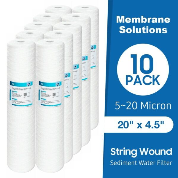10 Pack 20quot; x 4.5quot; String Wound Whole House Sediment Water Filter 5 10 20 Micron $107.99
