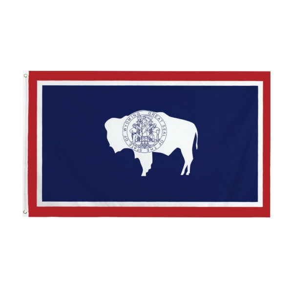 3x5FT Wyoming Flag State Bison Seal Native Decor Man Cave Dorm Garage WY USA