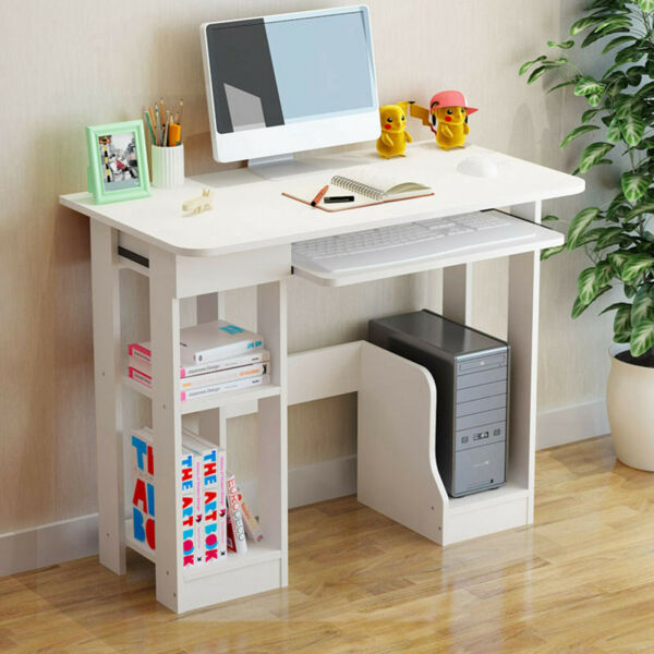 Computer Table Modern Desk Home Office Workstation Writing Furniture Shelf White