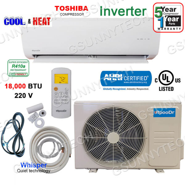 18000 BTU Ductless Air Conditioner Heat Pump Mini Split 220V 1.5 Ton With KIT $699.00