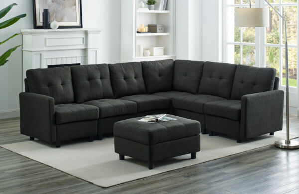 Contemporary Fabric Living Room Furniture Sofa Couch Modular Sectional Set USA $859.00