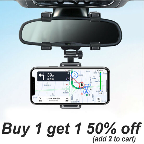 Universal 360 Rotation Car Rear View Mirror Mount Stand GPS Cell Phone Holder US $8.99