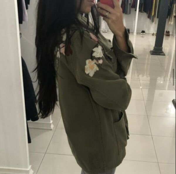 Forte Couture Green Military Flowers Jacket Parka Cotton Iataly Oversize