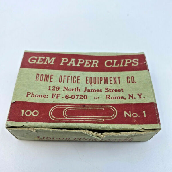 Vintage Boxes Tiger Brand No 1 Liquor Finish Gem Paper Clips Office Supply Rome