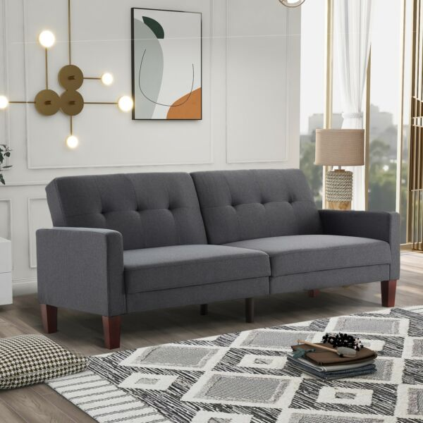 Modern Fabric Couch Sofa Love Seat Upholstered Bed Lounge Sleeper 2 Seater