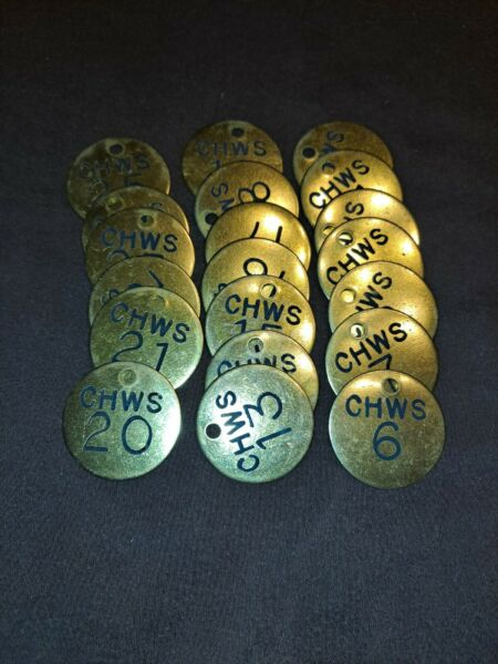 """20 Vintage Brass Misc Numbered Industrial Round Disk Tag Steampunk 1.5"""" lot."""