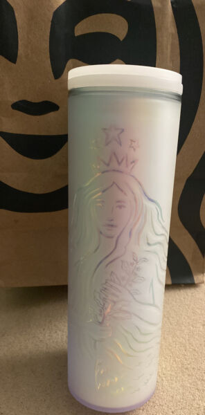 Starbucks 50th Anniversary Frosted Cloud Mermaid Siren 16oz Cold Cup NEW