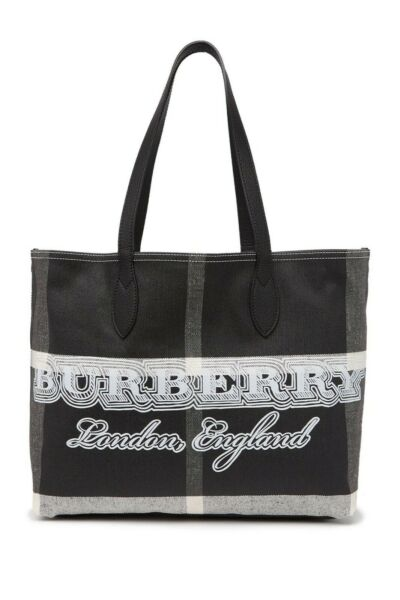 Burberry Leather Trimmed Doodle Tote Made in Italy NWT $439.99