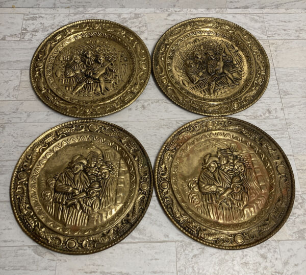 """Vintage Brass Embossed Wall Hanging 9.5"""" Plates Lot of 4 Made In England"""