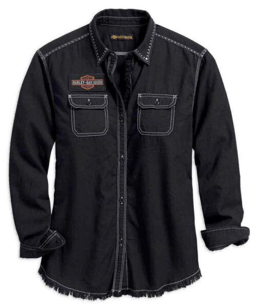 Harley Davidson Womens Frayed Hem Black Long Sleeve Button Shirt 99102 18VW