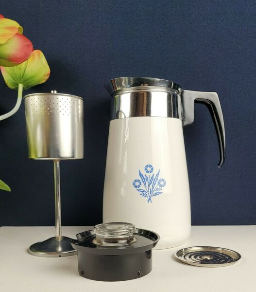 Corning Ware Cornflower P 149 9 Cup Coffee Stovetop Complete With Inserts