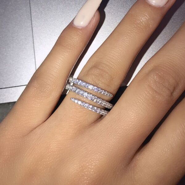 Infinity Jewelry 925 Silver Rings Cubic Zirconia for Women Party Rings Size 6 10