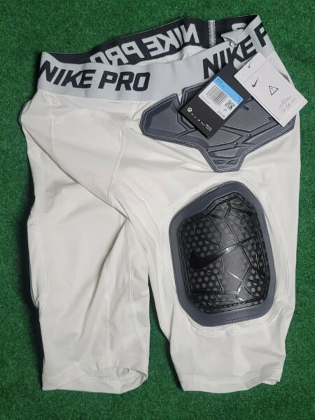 Nike Pro Hyperstrong Hard Plate Football Shorts Girdle Mens M AQ2732 100 White