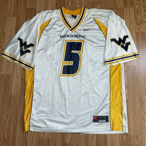 West Virginia Mountaineers Nike Football Jersey Away White WVU Size 2XL XXL