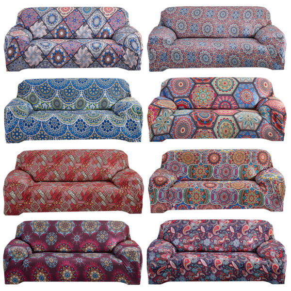 Stretch Sofa Covers Bohemian Polyester Printed Sofa Slipcovers Furniture Cover $21.98