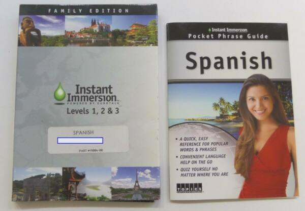 Instant Immersion Spanish Levels 1 2 amp; 3 Family Edition w Pocket Phrase Guide $21.95